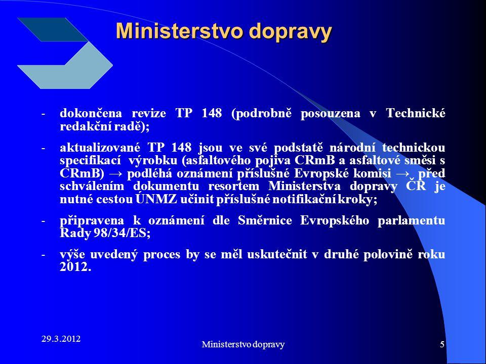 29.3.2012 Ministerstvo dopravy5 - dokončena revize TP 148 (podrobně posouzena v Technické redakční radě); - aktualizované TP 148 jsou ve své podstatě