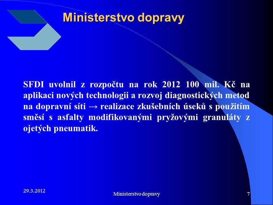 29.3.2012 Ministerstvo dopravy7 SFDI uvolnil z rozpočtu na rok 2012 100 mil. Kč na aplikaci nových technologii a rozvoj diagnostických metod na doprav