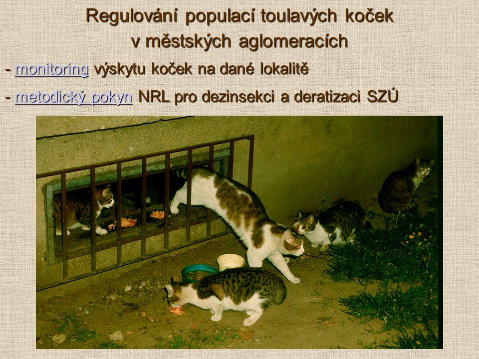 - monitoring výskytu koček na dané lokalitě monitoring - metodický pokyn NRL pro dezinsekci a deratizaci SZÚ metodický pokynmetodický pokyn Regulování