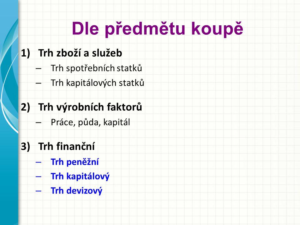 Dle předmětu koupě 1)Trh zboží a služeb – Trh spotřebních statků – Trh kapitálových statků 2)Trh výrobních faktorů – Práce, půda, kapitál 3)Trh finanční – Trh peněžní – Trh kapitálový – Trh devizový