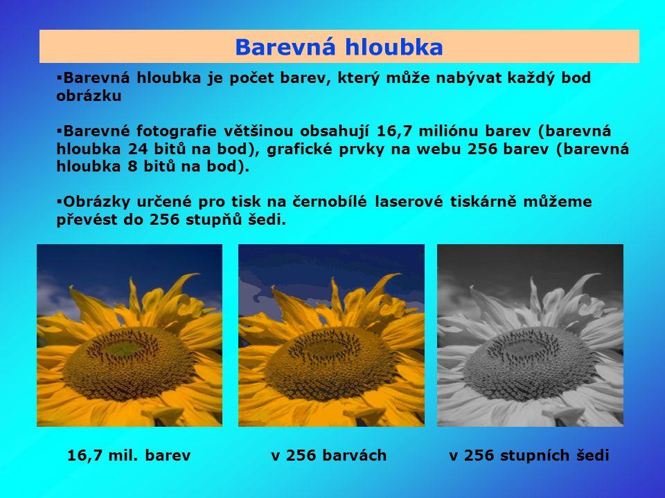 Barevná hloubka  Barevná hloubka je počet barev, který může nabývat každý bod obrázku  Barevné fotografie většinou obsahují 16,7 miliónu barev (barevná hloubka 24 bitů na bod), grafické prvky na webu 256 barev (barevná hloubka 8 bitů na bod).