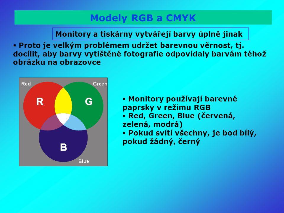 Modely RGB a CMYK Monitory a tiskárny vytvářejí barvy úplně jinak  Proto je velkým problémem udržet barevnou věrnost, tj.