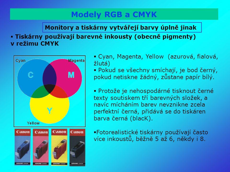 Modely RGB a CMYK Monitory a tiskárny vytvářejí barvy úplně jinak  Tiskárny používají barevné inkousty (obecně pigmenty) v režimu CMYK  Cyan, Magenta, Yellow (azurová, fialová, žlutá)  Pokud se všechny smíchají, je bod černý, pokud netiskne žádný, zůstane papír bílý.