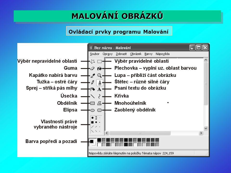 MALOVÁNÍ OBRÁZKŮ Ovládací prvky programu Malování