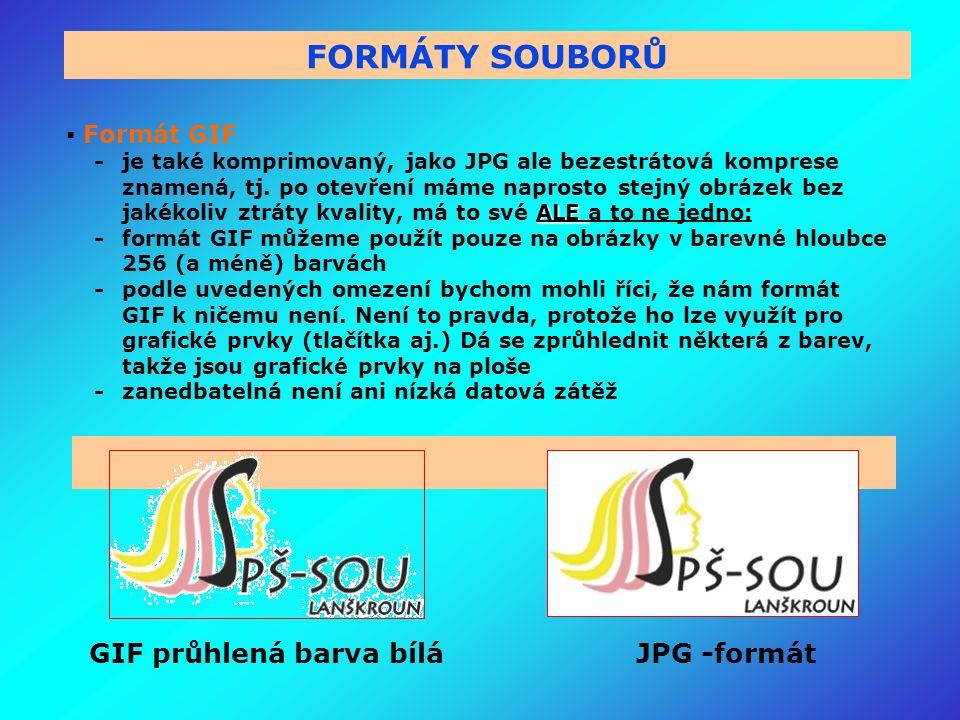 GIF průhlená barva bílá JPG -formát FORMÁTY SOUBORŮ  Formát GIF ALE - je také komprimovaný, jako JPG ale bezestrátová komprese znamená, tj.