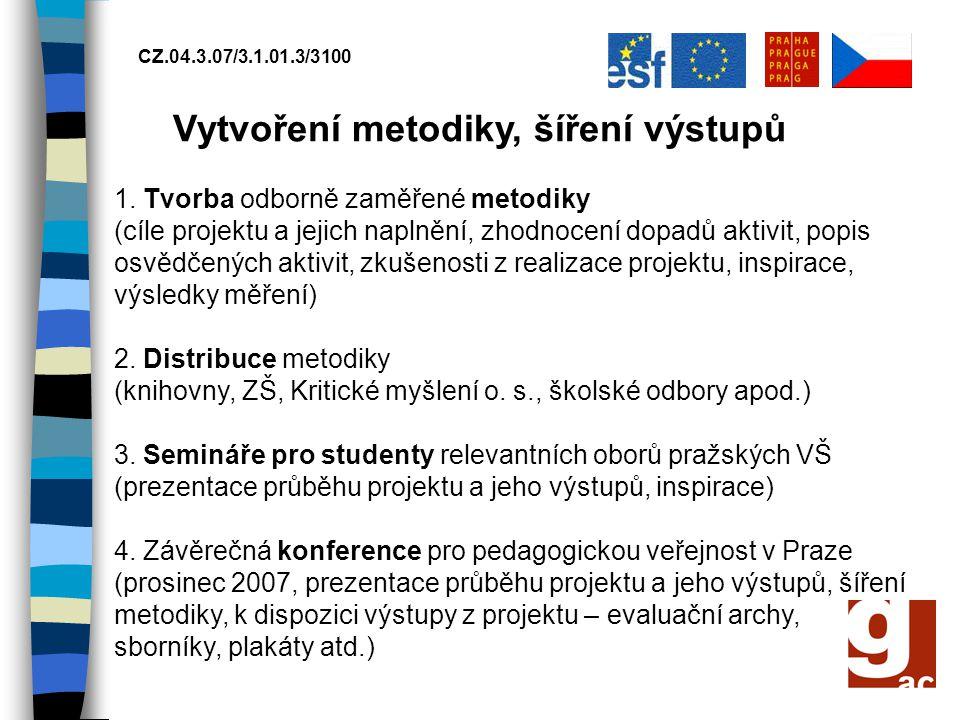 CZ.04.3.07/3.1.01.3/3100 Vytvoření metodiky, šíření výstupů 1. Tvorba odborně zaměřené metodiky (cíle projektu a jejich naplnění, zhodnocení dopadů ak