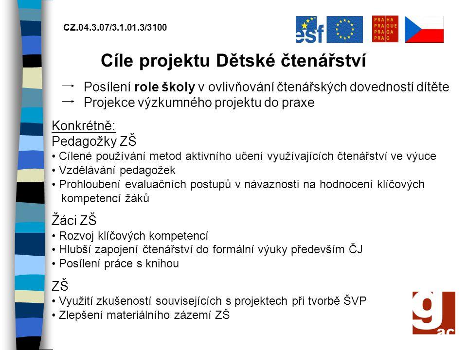 CZ.04.3.07/3.1.01.3/3100 Cílové skupiny: ZŠ a jejich vybrané pedagožky, žáci a žákyně 6.
