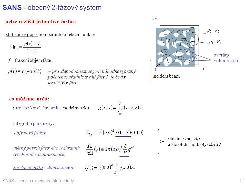 SANS - teorie a experimentální metody12 SANS - obecný 2-fázový systém nelze rozlišit jednotlivé částice statistický popis pomocí autokorelační funkce