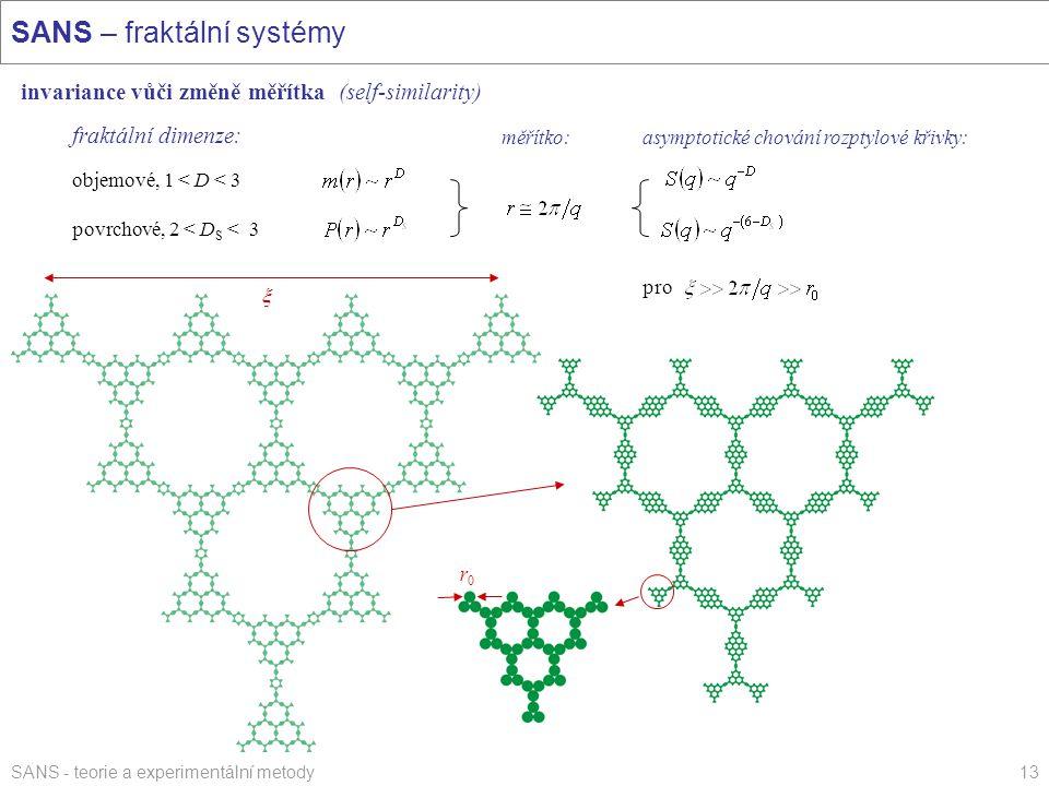 SANS - teorie a experimentální metody13 SANS – fraktální systémy invariance vůči změně měřítka (self-similarity) fraktální dimenze: objemové, 1 < D <
