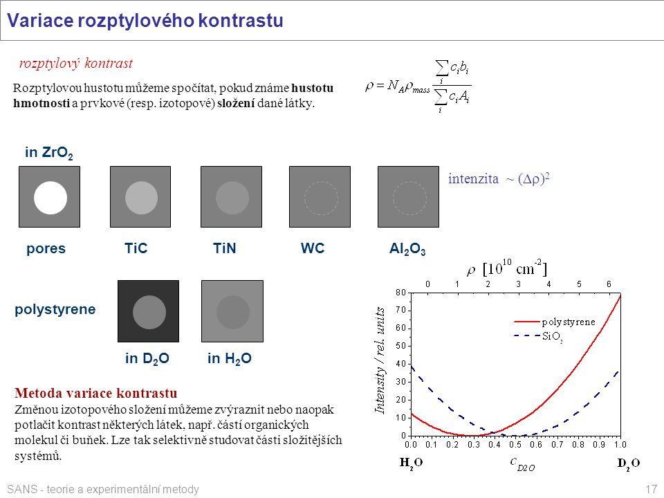 SANS - teorie a experimentální metody17 Variace rozptylového kontrastu rozptylový kontrast Rozptylovou hustotu můžeme spočítat, pokud známe hustotu hm