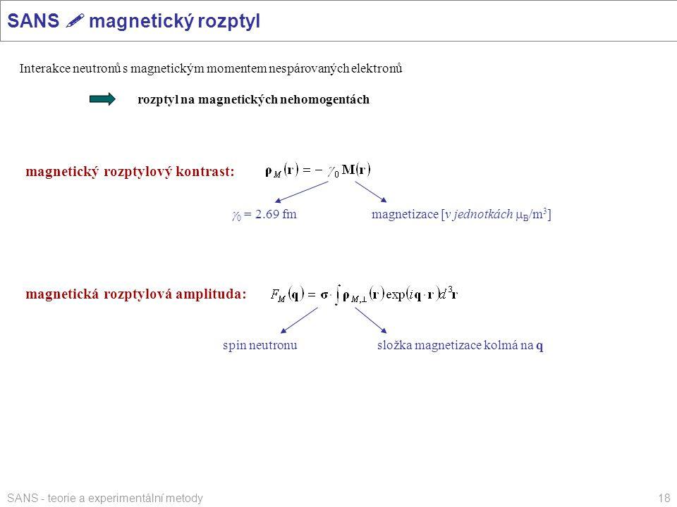 SANS - teorie a experimentální metody18 SANS  magnetický rozptyl magnetický rozptylový kontrast: Interakce neutronů s magnetickým momentem nespárovan