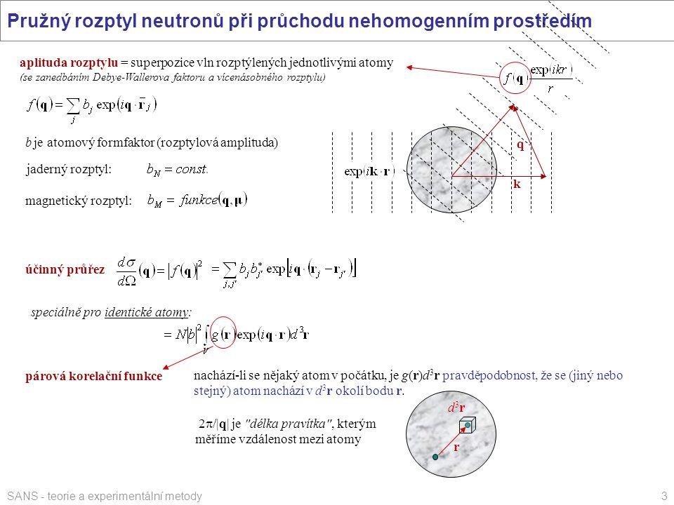 SANS - teorie a experimentální metody3 Pružný rozptyl neutronů při průchodu nehomogenním prostředím účinný průřez speciálně pro identické atomy:párová