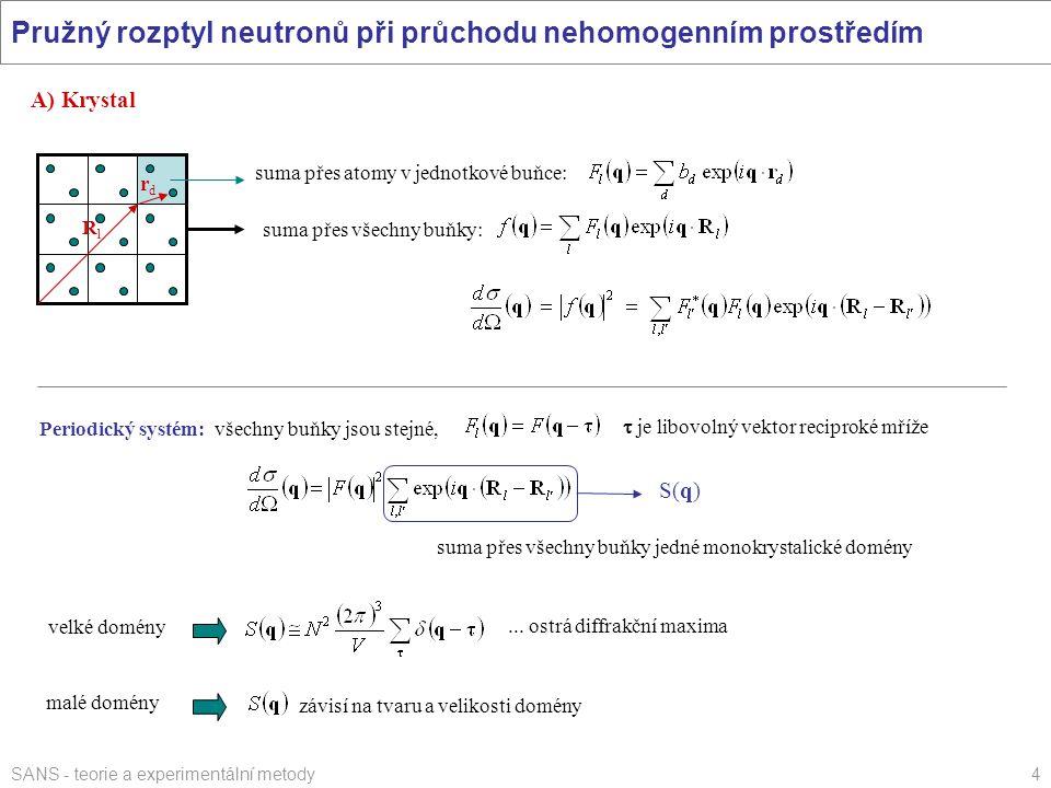 SANS - teorie a experimentální metody4 Pružný rozptyl neutronů při průchodu nehomogenním prostředím A) Krystal suma přes atomy v jednotkové buňce: RlR