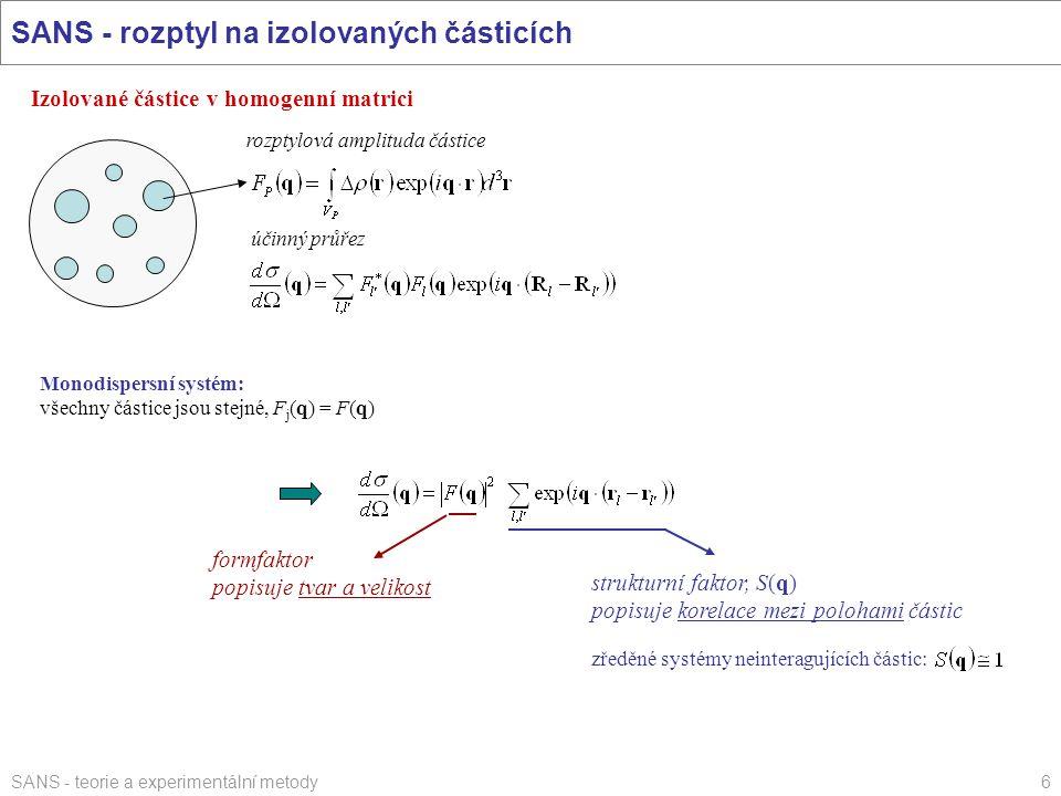 SANS - teorie a experimentální metody6 SANS - rozptyl na izolovaných částicích Izolované částice v homogenní matrici rozptylová amplituda částice účin