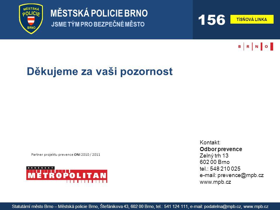 MĚSTSKÁ POLICIE BRNO JSME TÝM PRO BEZPEČNÉ MĚSTO TÍSŇOVÁ LINKA 156 Statutární město Brno – Městská policie Brno, Štefánikova 43, 602 00 Brno, tel.: 541 124 111, e-mail: podatelna@mpb.cz, www.mpb.cz Děkujeme za vaši pozornost Partner projektu prevence ONI 2010 / 2011 Kontakt: Odbor prevence Zelný trh 13 602 00 Brno tel.: 548 210 025 e-mail: prevence@mpb.cz www.mpb.cz