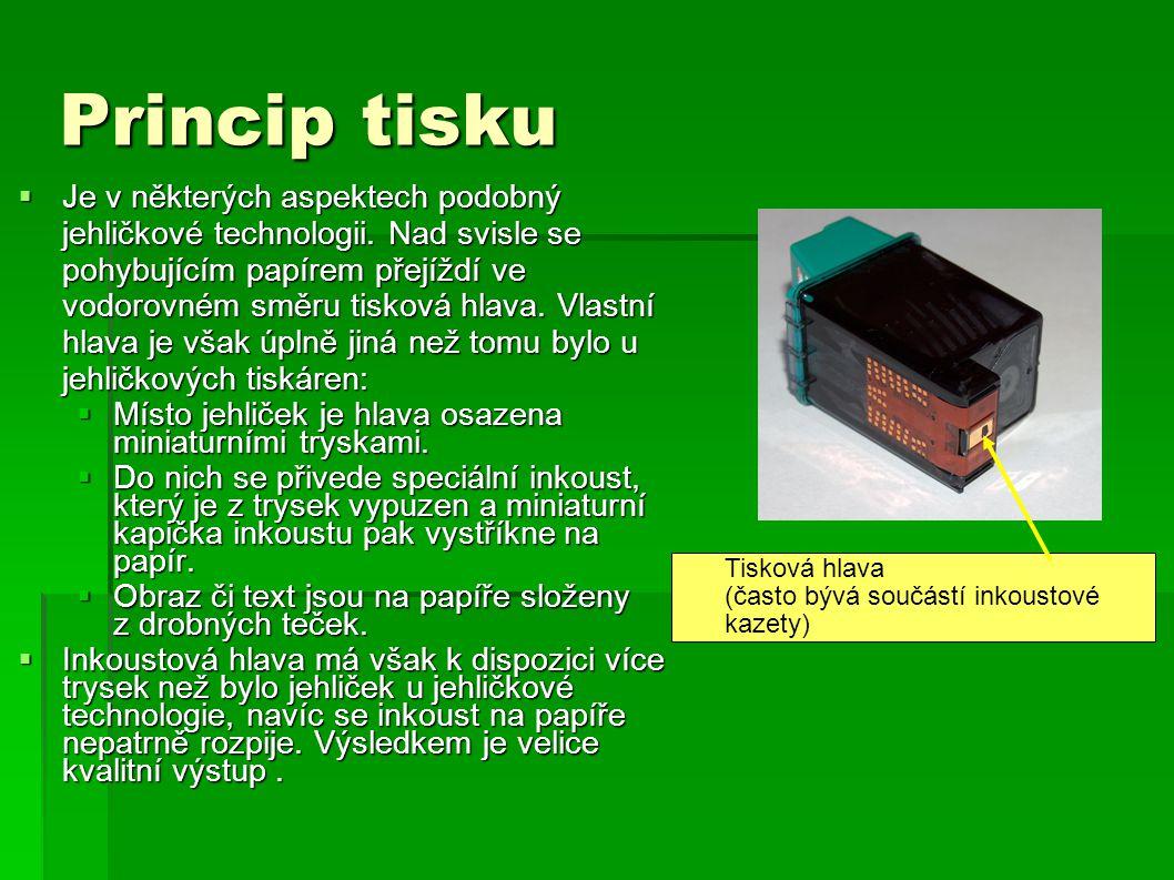 Konstrukce tiskárny  Mechanická část tiskárny se podobá jehličkovým strojům.