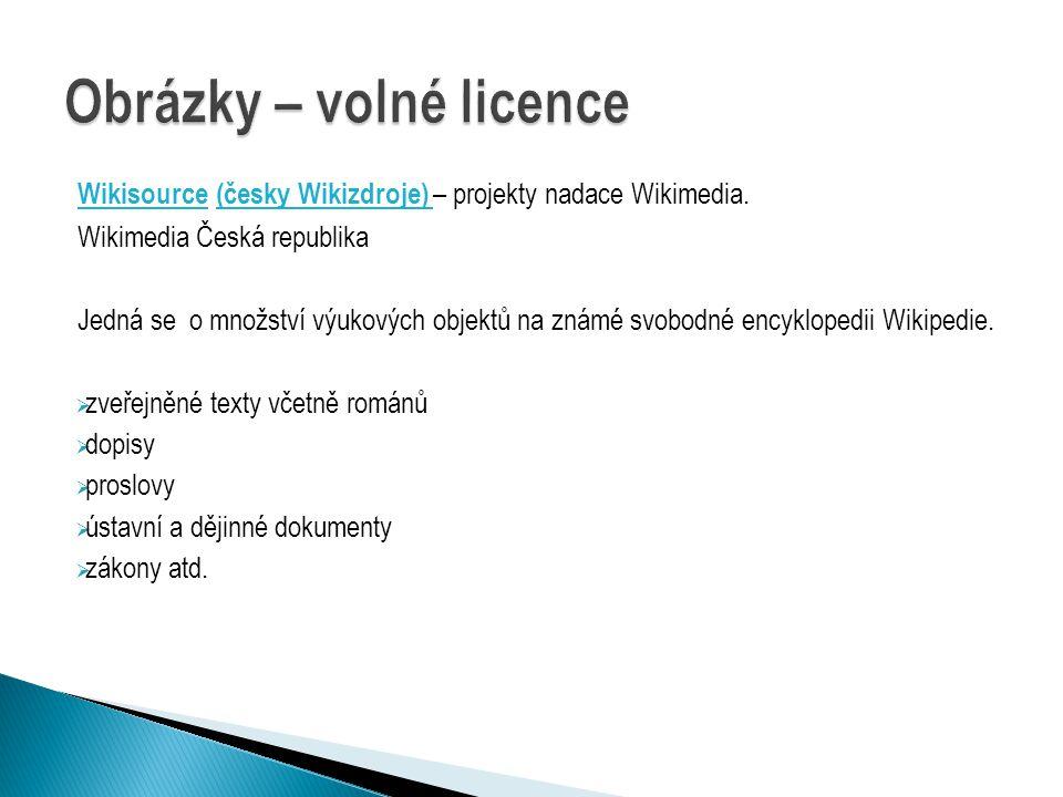 Wikisource (česky Wikizdroje) – projekty nadace Wikimedia.