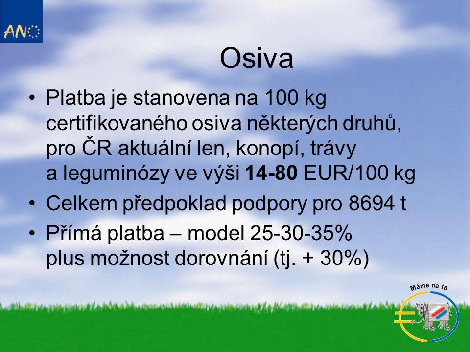 Osiva •Platba je stanovena na 100 kg certifikovaného osiva některých druhů, pro ČR aktuální len, konopí, trávy a leguminózy ve výši 14-80 EUR/100 kg •Celkem předpoklad podpory pro 8694 t •Přímá platba – model 25-30-35% plus možnost dorovnání (tj.