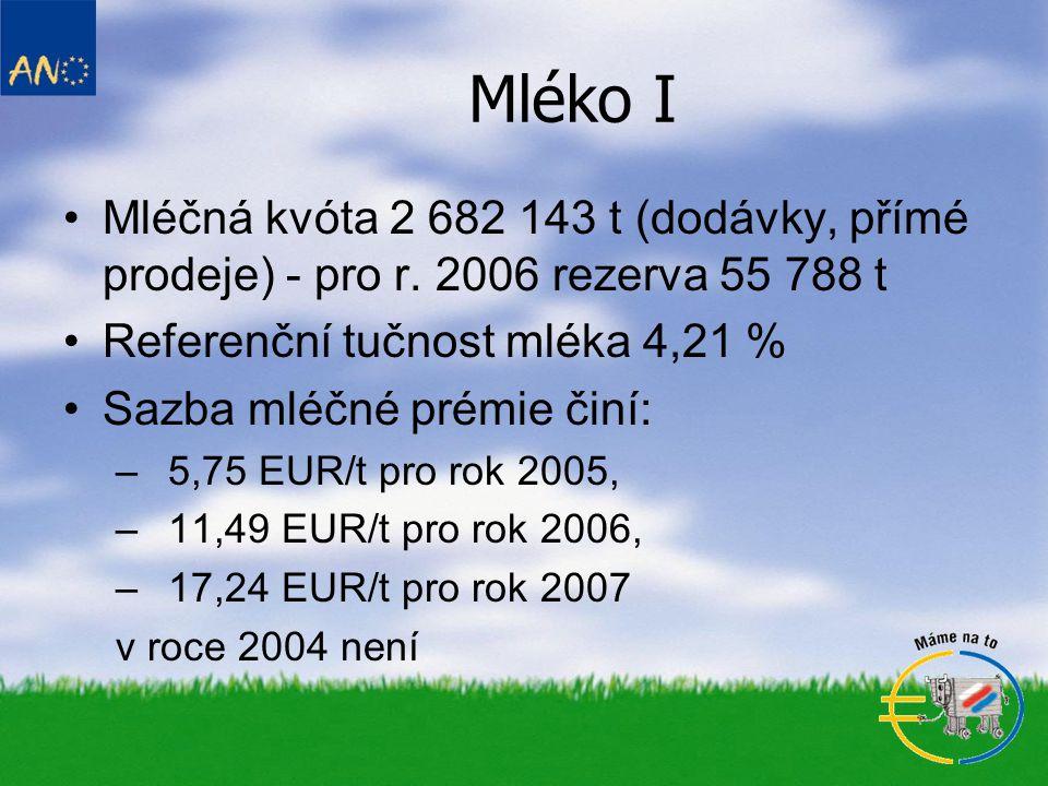 Mléko I •Mléčná kvóta 2 682 143 t (dodávky, přímé prodeje) - pro r.