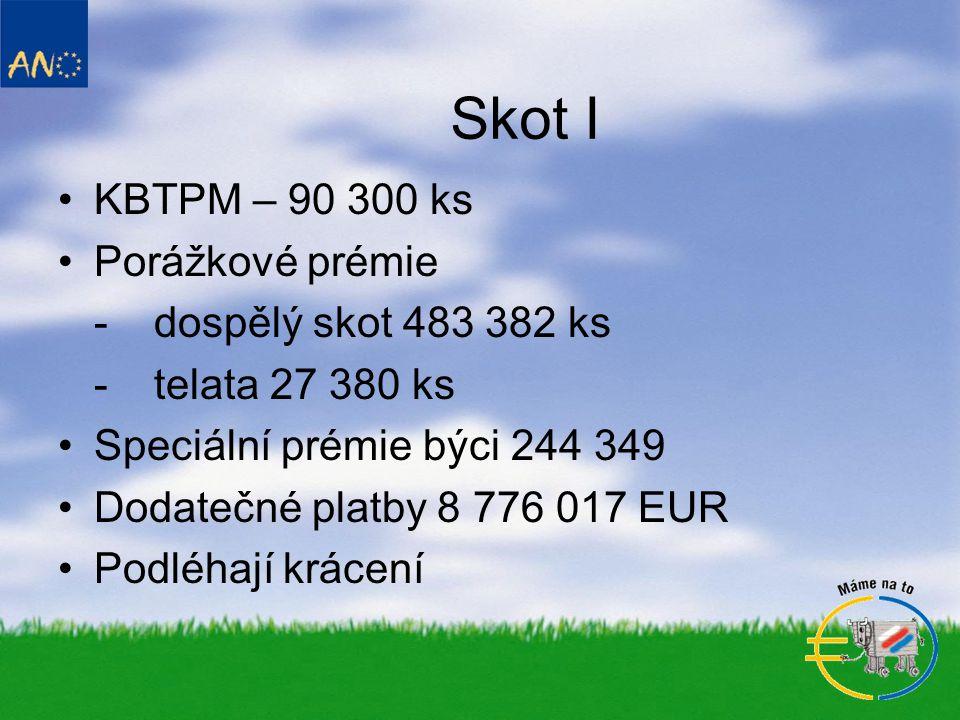 Skot I •KBTPM – 90 300 ks •Porážkové prémie -dospělý skot 483 382 ks -telata 27 380 ks •Speciální prémie býci 244 349 •Dodatečné platby 8 776 017 EUR •Podléhají krácení
