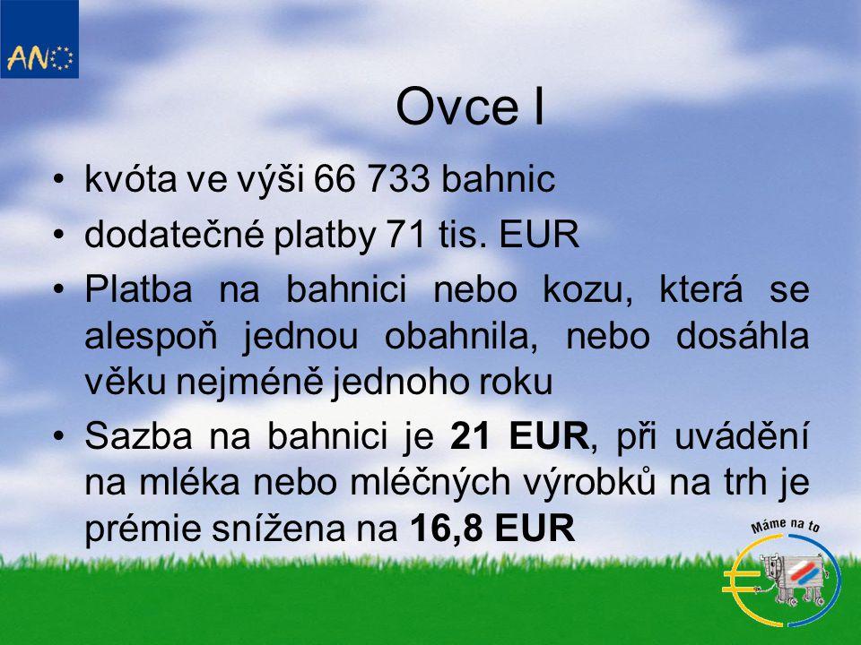Ovce I •kvóta ve výši 66 733 bahnic •dodatečné platby 71 tis.