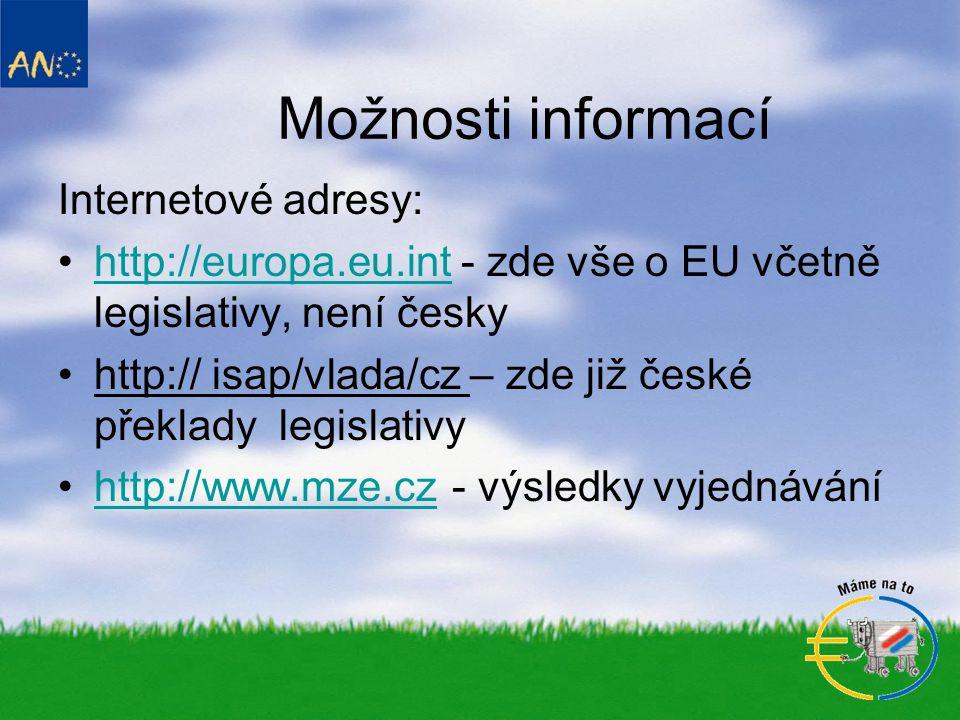 Možnosti informací Internetové adresy: •http://europa.eu.int - zde vše o EU včetně legislativy, není českyhttp://europa.eu.int •http:// isap/vlada/cz – zde již české překlady legislativy •http://www.mze.cz - výsledky vyjednáváníhttp://www.mze.cz