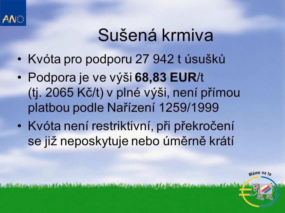 Sušená krmiva •Kvóta pro podporu 27 942 t úsušků •Podpora je ve výši 68,83 EUR/t (tj.