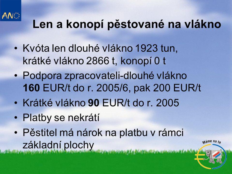 Len a konopí pěstované na vlákno •Kvóta len dlouhé vlákno 1923 tun, krátké vlákno 2866 t, konopí 0 t •Podpora zpracovateli-dlouhé vlákno 160 EUR/t do r.