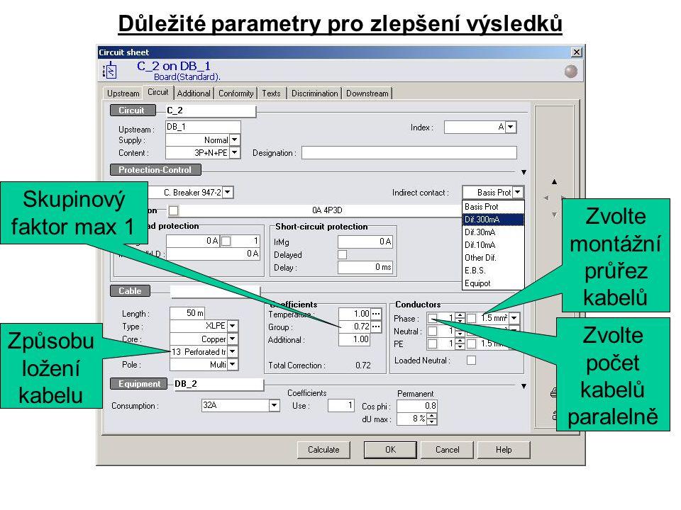 Důležité parametry pro zlepšení výsledků Skupinový faktor max 1 Způsobu ložení kabelu Zvolte montážní průřez kabelů Zvolte počet kabelů paralelně