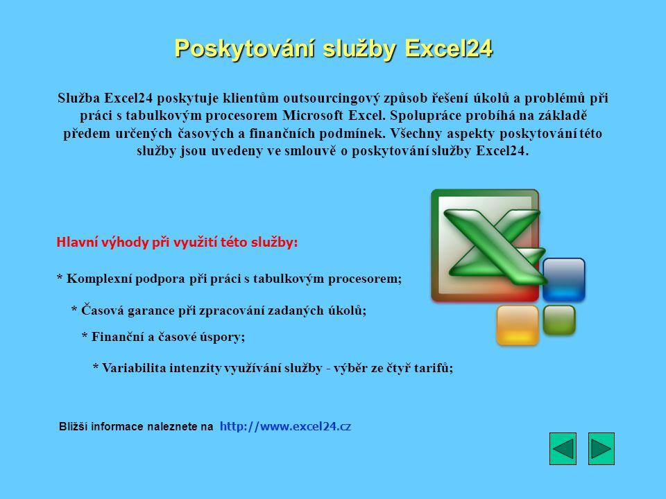 Poskytování služby Excel24 Služba Excel24 poskytuje klientům outsourcingový způsob řešení úkolů a problémů při práci s tabulkovým procesorem Microsoft Excel.
