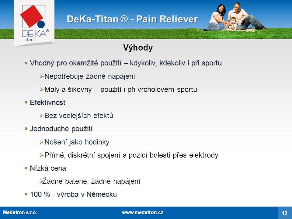 Patenty DeKa-Titan ® - Pain Reliever Germany / EUUSA 14 Medetron s.r.o. www.medetron.cz