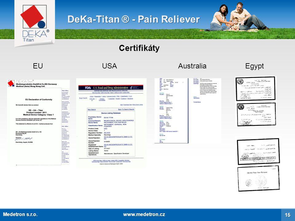 Zpětná odezva pacientů DeKa-Titan ® - Pain Reliever Nuremberg, 29.5.2008 Zpráva o mé zkušenosti s náramkem DE-KA-Titan Po narození mého 2.