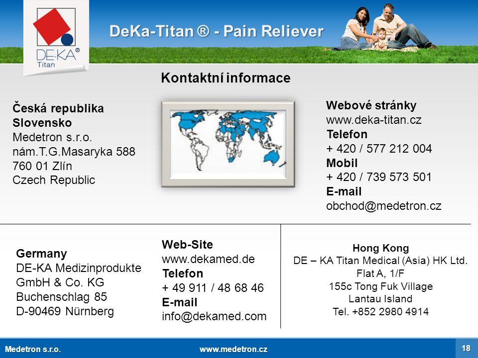 Děkujeme za vaši pozornost.DeKa-Titan ® Inteligentní úleva od bolesti Medetron s.r.o.