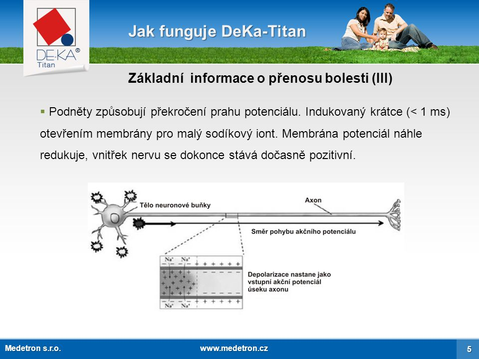 """Jak funguje DeKa-Titan  Po této """" relaxačním době pro repolarizaci buňka dosáhne jejího základního potenciálu ( -60 –100 mV) a následující proces začne znovu."""