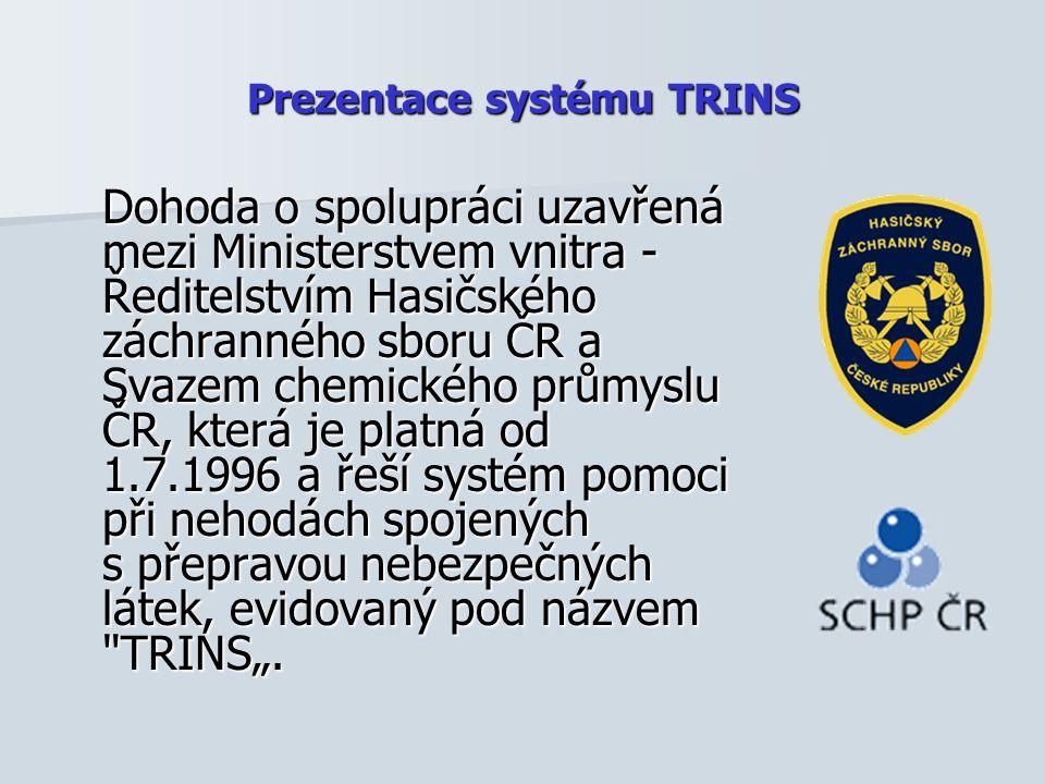 Prezentace systému TRINS Dohoda o spolupráci uzavřená mezi Ministerstvem vnitra - Ředitelstvím Hasičského záchranného sboru ČR a Svazem chemického prů