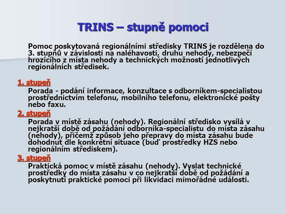 TRINS – stupně pomoci Pomoc poskytovaná regionálními středisky TRINS je rozdělena do 3. stupňů v závislosti na naléhavosti, druhu nehody, nebezpečí hr