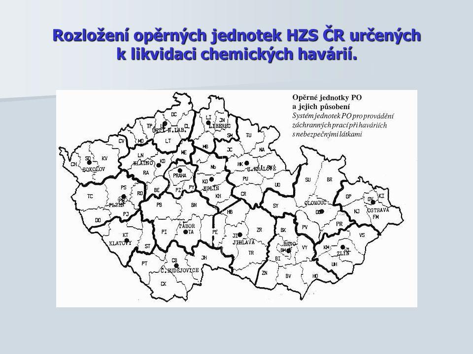 Rozložení opěrných jednotek HZS ČR určených k likvidaci chemických havárií.