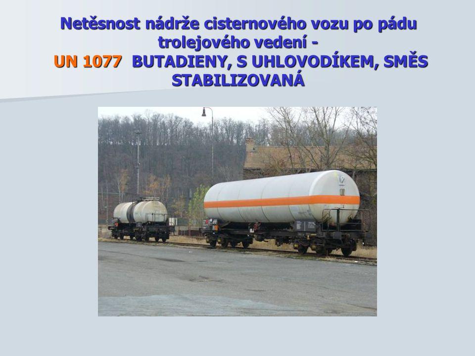 Netěsnost nádrže cisternového vozu po pádu trolejového vedení - UN 1077 BUTADIENY, S UHLOVODÍKEM, SMĚS STABILIZOVANÁ