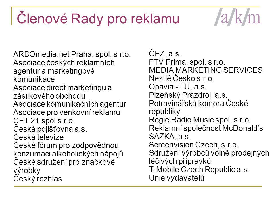 Členové Rady pro reklamu ARBOmedia.net Praha, spol.