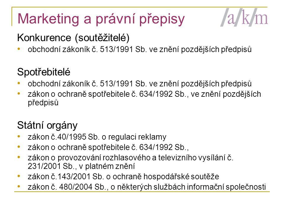 Marketing a právní přepisy Konkurence (soutěžitelé) • obchodní zákoník č.