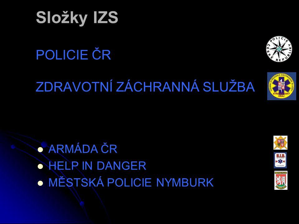 Složky IZS POLICIE ČR ZDRAVOTNÍ ZÁCHRANNÁ SLUŽBA  ARMÁDA ČR  HELP IN DANGER  MĚSTSKÁ POLICIE NYMBURK