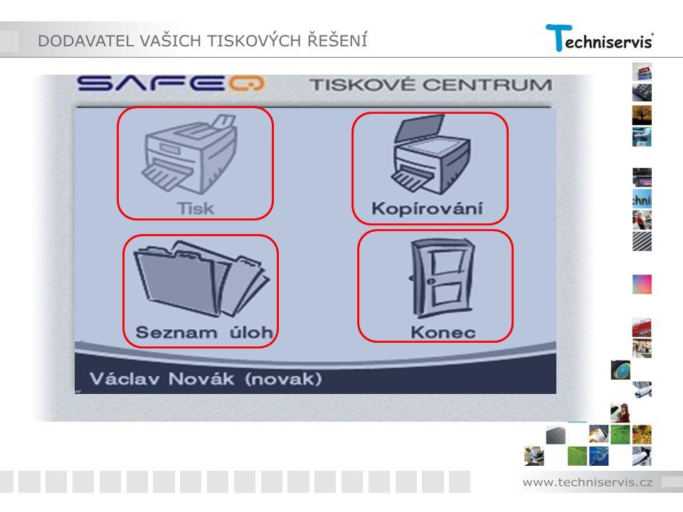 Po identifikaci lze volit na terminálu stroje ze 4 možností: 1 - tisk 2 - kopírování 3 - práce s úlohami 4 - konec práce se strojem