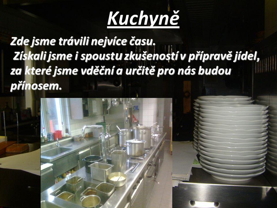 Kuchyně Zde jsme trávili nejvíce času. Získali jsme i spoust u zkušeností v přípravě jídel, za které jsme vděční a určitě pro nás budou přínosem. Získ