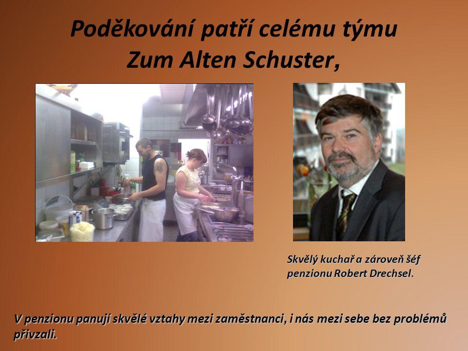 Poděkování patří celému týmu Zum Alten Schuster, V penzionu panují skvělé vztahy mezi zaměstnanci, i nás mezi sebe bez problémů přivzali. Skvělý kucha