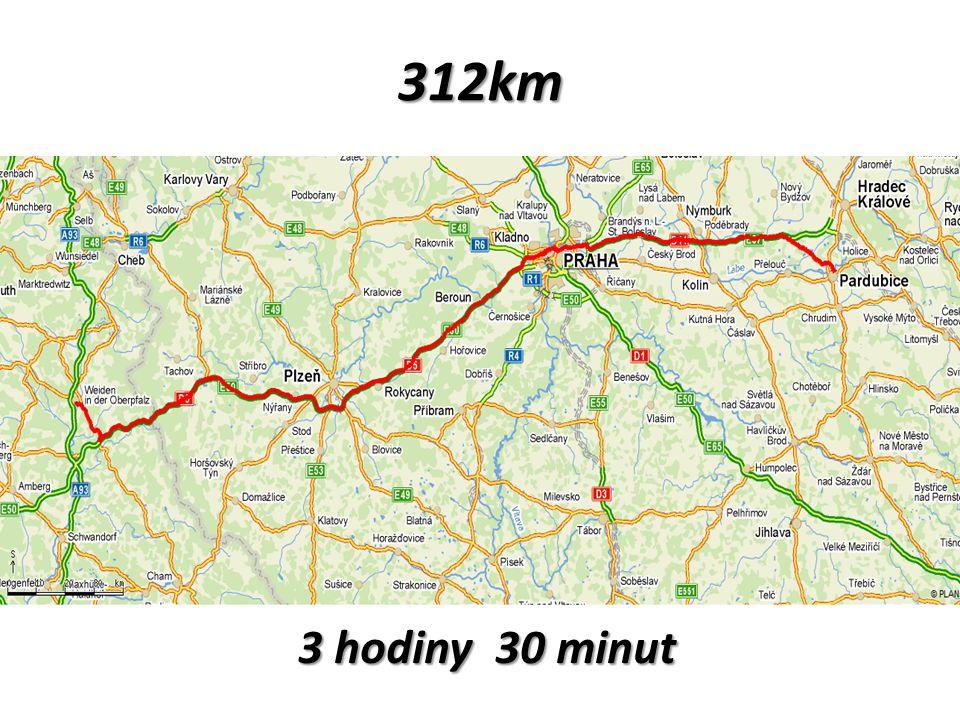 312km 3 hodiny 30 minut