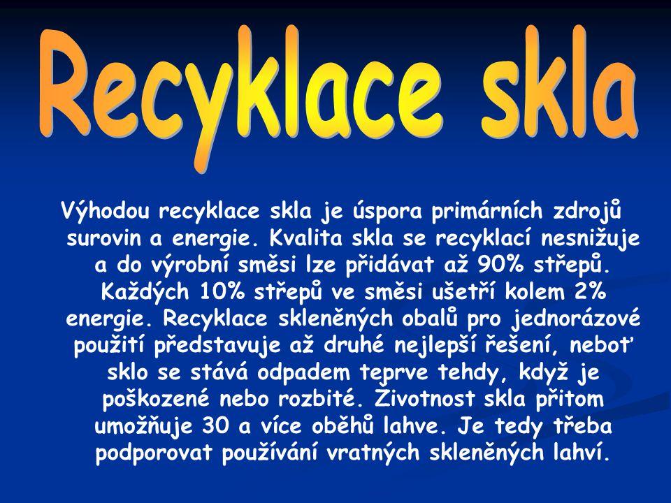 Výhodou recyklace skla je úspora primárních zdrojů surovin a energie. Kvalita skla se recyklací nesnižuje a do výrobní směsi lze přidávat až 90% střep