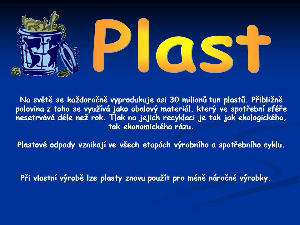 Na světě se každoročně vyprodukuje asi 30 milionů tun plastů. Přibližně polovina z toho se využívá jako obalový materiál, který ve spotřební sféře nes