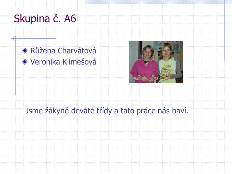 Skupina č. A6 Růžena Charvátová Veronika Klimešová Jsme žákyně deváté třídy a tato práce nás baví.