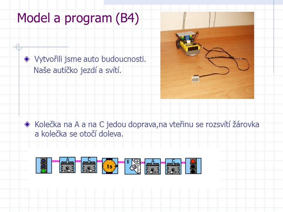 Model a program (B4) Vytvořili jsme auto budoucnosti. Naše autíčko jezdí a svítí. Kolečka na A a na C jedou doprava,na vteřinu se rozsvítí žárovka a k