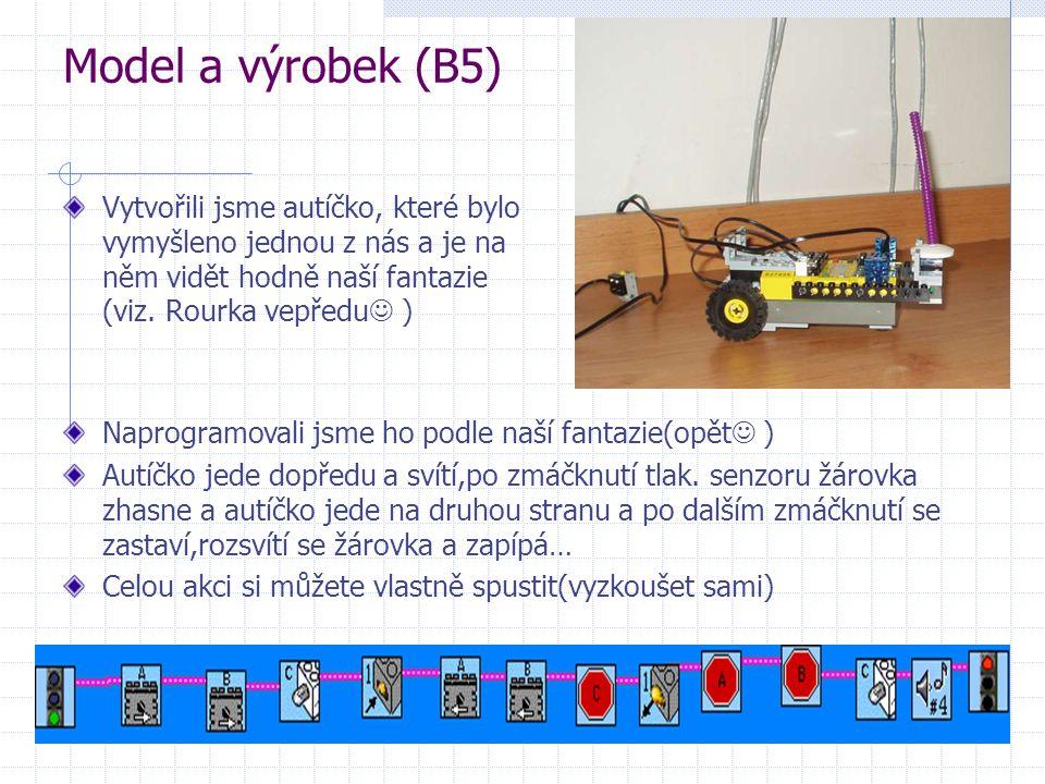 Model a výrobek (B5) Vytvořili jsme autíčko, které bylo vymyšleno jednou z nás a je na něm vidět hodně naší fantazie (viz. Rourka vepředu  ) Naprogra